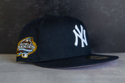 New York Yankees 2003 World Series Fitted Cap Pink UV (Navy/Pink)