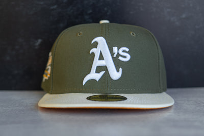 Oakland Athletics 1989 World Series Fitted Cap Gold UV (Olive/Off White)