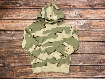 Men's LIVE Hooded Camo Print Fleece Sweatshirt (Sand)