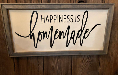 Happiness is homemade wooden framed sign - country wooden framed happiness is homemade sign - Ok Yankee Girl