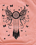 Tshirt with a Dreamcatcher on it - Dreamcatcher on a sunset colored tshirt - Ok Yankee Girl