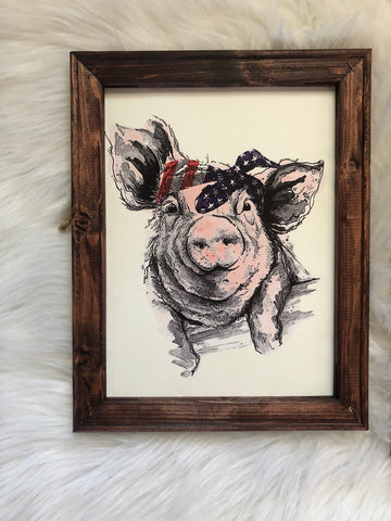 American pig wooden framed canvas sign - cute american farm pig sign - Ok Yankee Girl