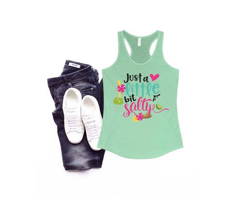 Just a little bit salty tank top - funny salty tank top - Ok Yankee Girl