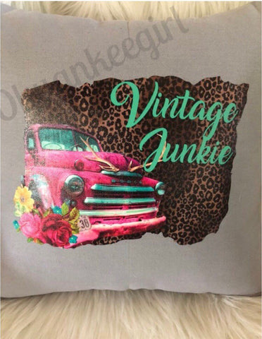 Vintage junkie throw pillow - Ok Yankee Girl