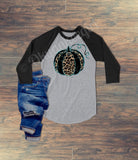Fall turquoise black leopard pumpkin top - fall black leopard pumpkin top - Ok Yankee Girl