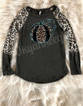 Leopard lovers fall top- Black leopard pumpkin and white leopard top - Ok Yankee Girl