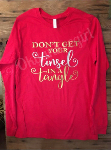 Dont get your tinsel in a tangle,red long sleeve top - Ok Yankee Girl