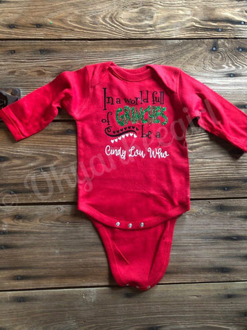 Cindy lou who long sleeved baby onesie - Ok Yankee Girl