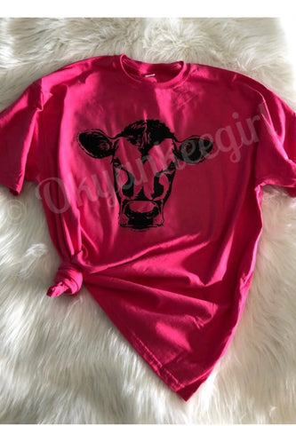 Bright pink tshirt with cow face on it - Cow face tshirt - Ok Yankee Girl
