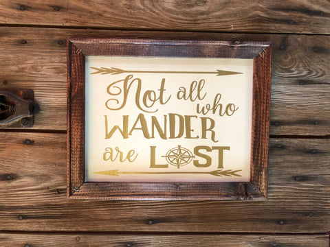 Not all who wander are lost wooden framed sign - Ok Yankee Girl