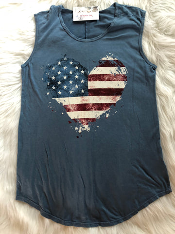 Sleeveless american flag top - cute fourth of july tank top - heart shaped american flag tank top - Ok Yankee Girl