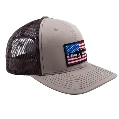 AR FLAG PATCH TRUCKER HAT - TAN W/BROWN MESH
