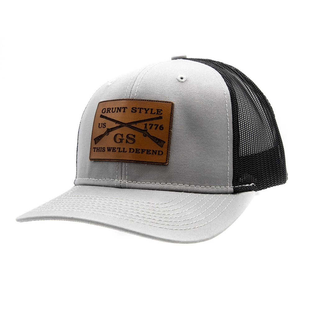 GS GREY LEATHER LOGO HAT