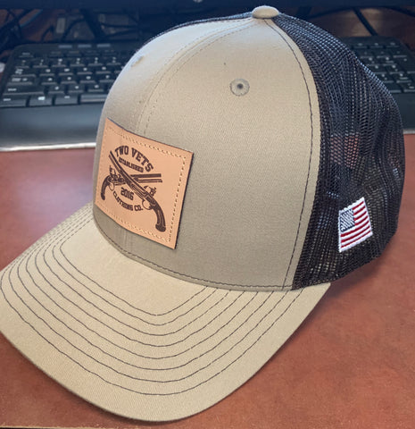 Two Vets Leather Patch Hat - khaki/coffee