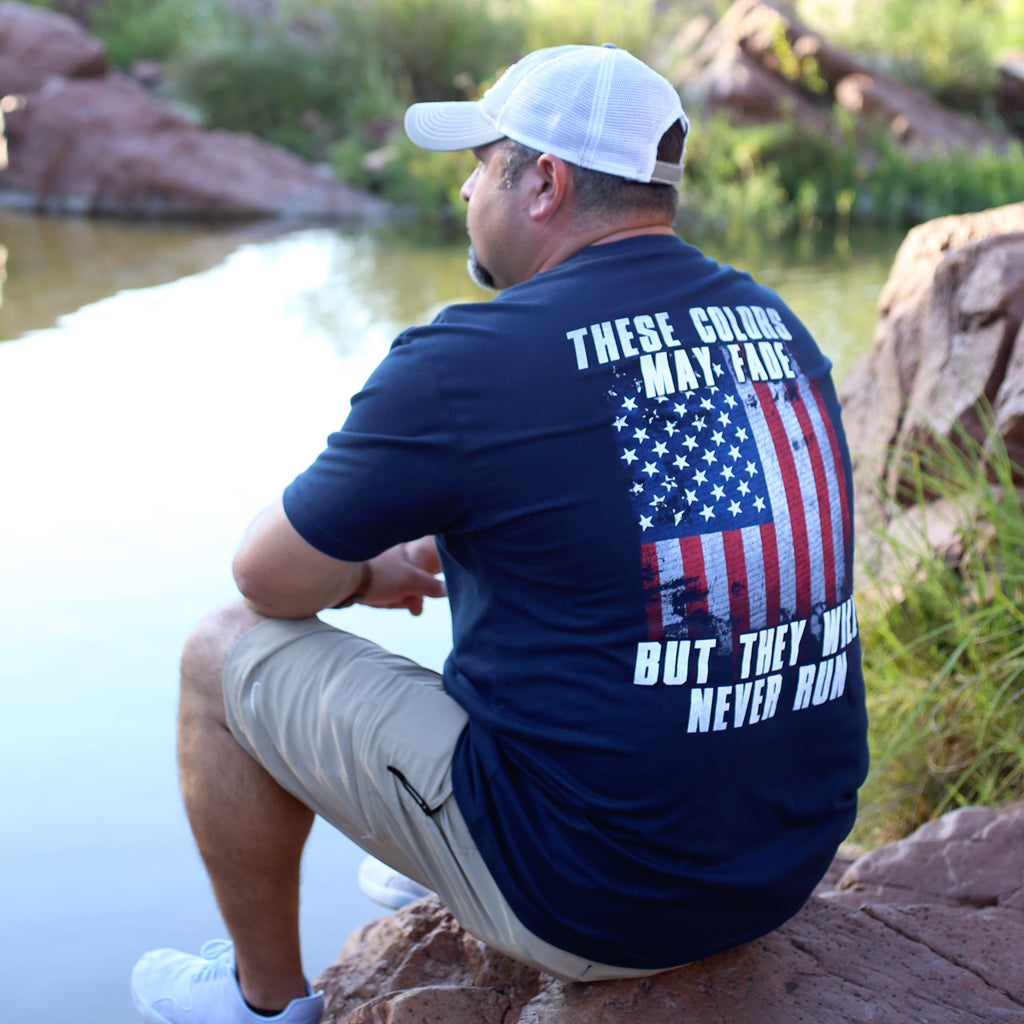 Never Run Men's T-Shirt, Two Vets Clothing Co.