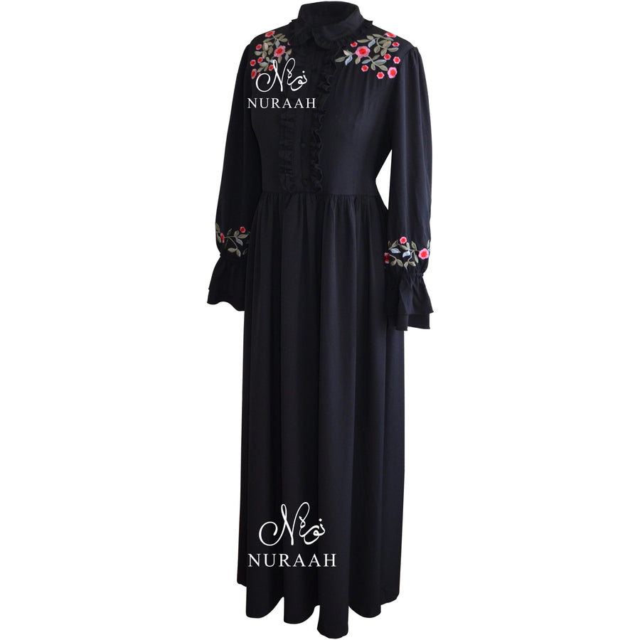 RUFFLED COLLAR DRESS black - jilbabs online