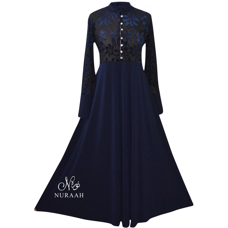 BUTTONED BURNOUT VELVET DRESS NAVY