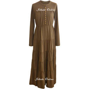 TIERED PANEL DRESS OLIVE T003 - jilbabs online