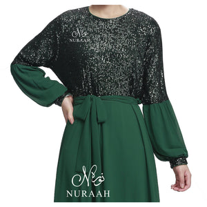 BALLOON SLEEVE SEQUINED LACE DRESS BOTTLE GREEN - jilbabs online
