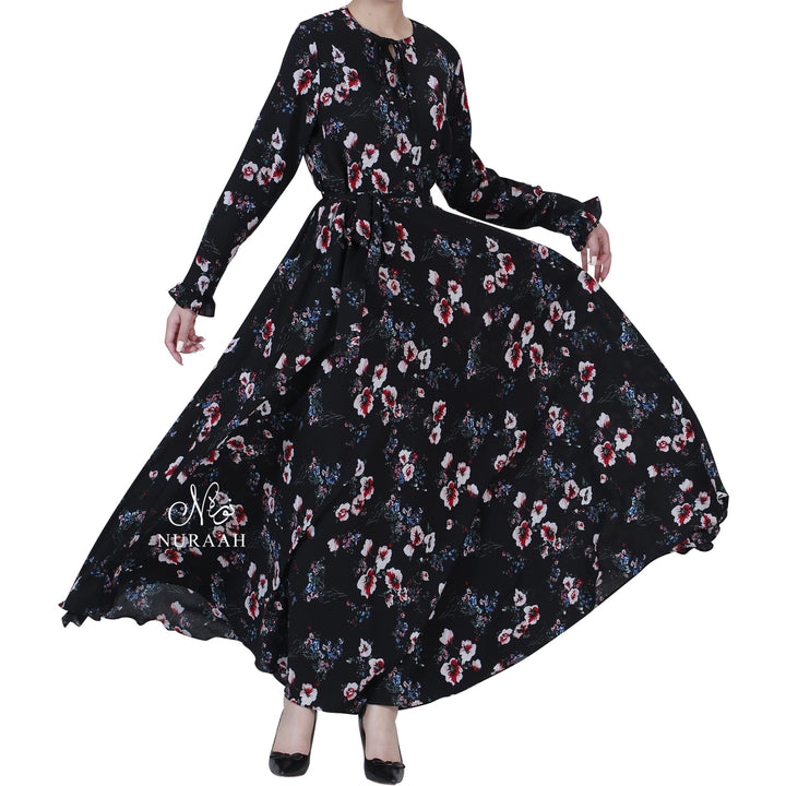 AISHAH FLORAL PRINT FLARED DRESS - NURAAH