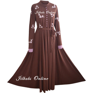 BLOSSOM EMBROIDERY ABAYA BROWN BE001 - NURAAH