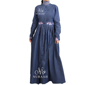 DENIM EMBROIDERED ABAYA DRESS D8765 - NURAAH