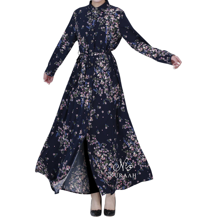 FLORAL PRINT SHIRT DRESS NAVY - NURAAH