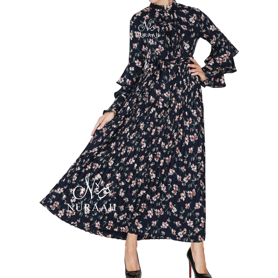 HAREEM PRINT PLEATED DRESS BLUE - NURAAH