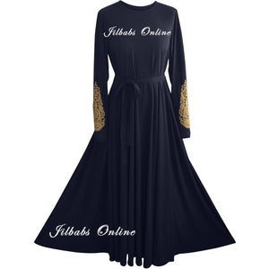 IMANI EMBROIDERED SLEEVE DRESS NAVY BLUE IM4005 - NURAAH