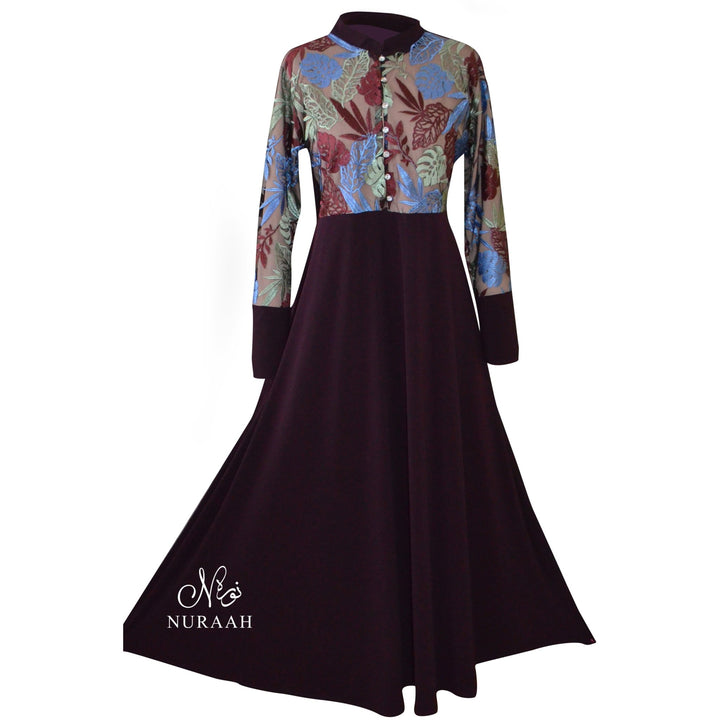 LEAF EMBROIDERED TULLE DRESS - NURAAH