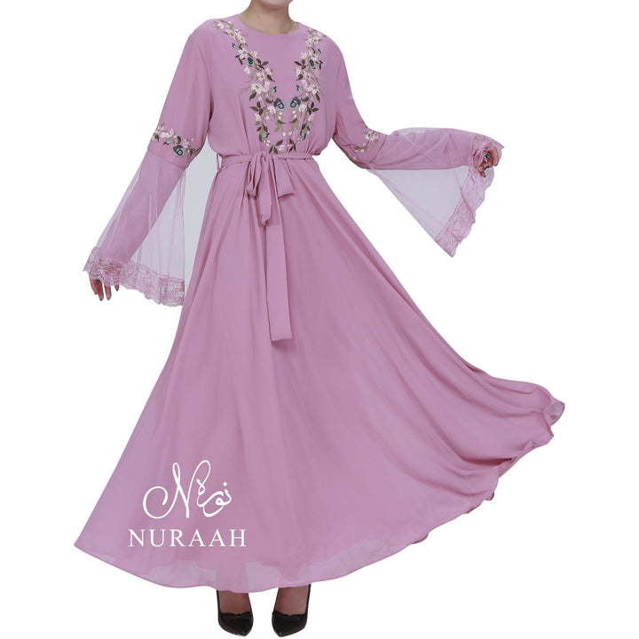 NET SLEEVES EMBROIDERY DRESS PINK - NURAAH