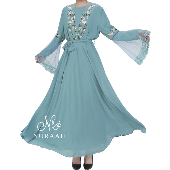 NET SLEEVES EMBROIDERY DRESS POWDER BLUE - NURAAH