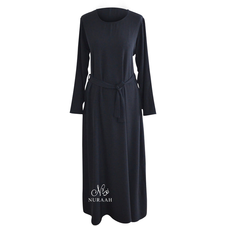NIDHA PLAIN ABAYA WITH POCKETS BLACK - NURAAH
