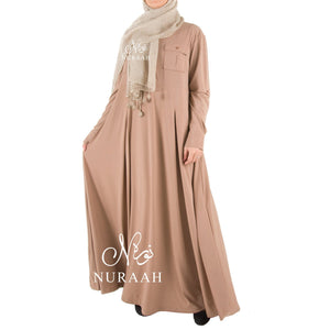 PLEATED FLARE SHIRT DRESS light mocha SD886 - NURAAH