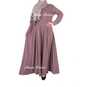 PLEATED FLARE SHIRT DRESS mauve SD886 - NURAAH