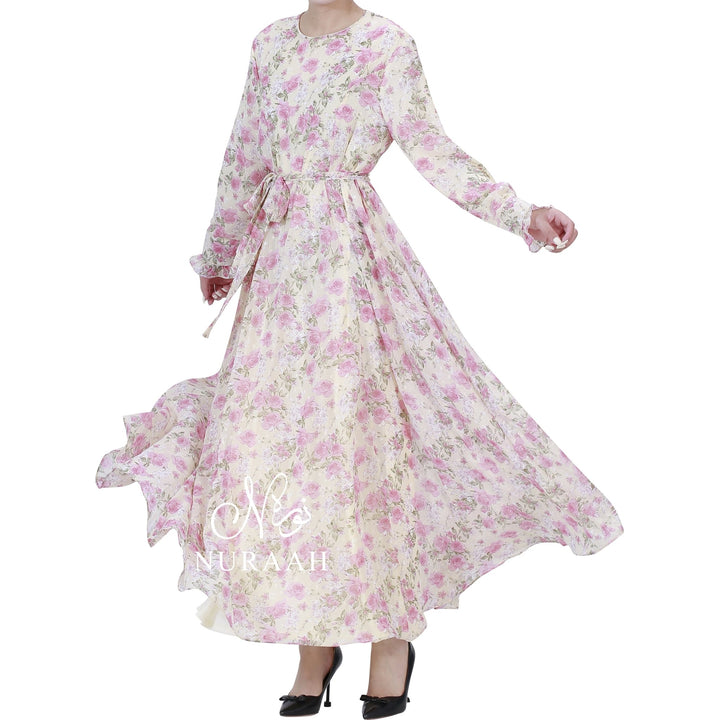 ROSE PRINT PLUMETIS DRESS - NURAAH