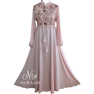 SEQUIN LACE KIMONO LIGHT PEACH - NURAAH
