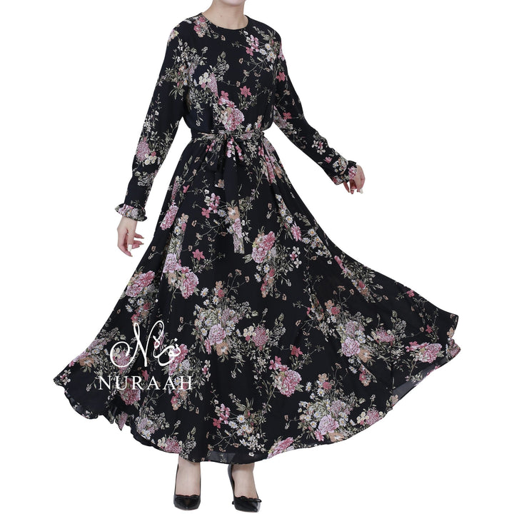 WARDA FLORAL PRINT DRESS BLACK - NURAAH