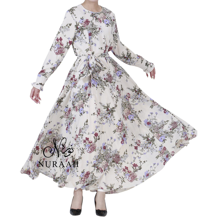 WARDA FLORAL PRINT DRESS CREAM - NURAAH