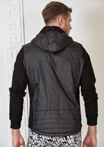 Black Hooded Hybrid Quilted Jacket