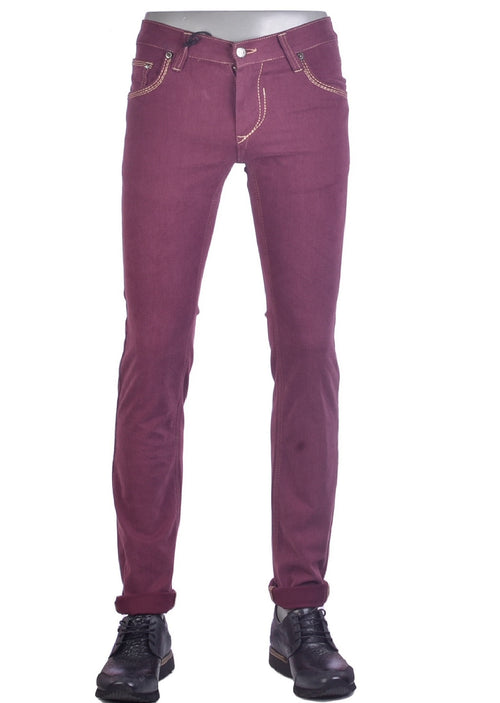 Burgundy Stretch Straight Fit Jeans