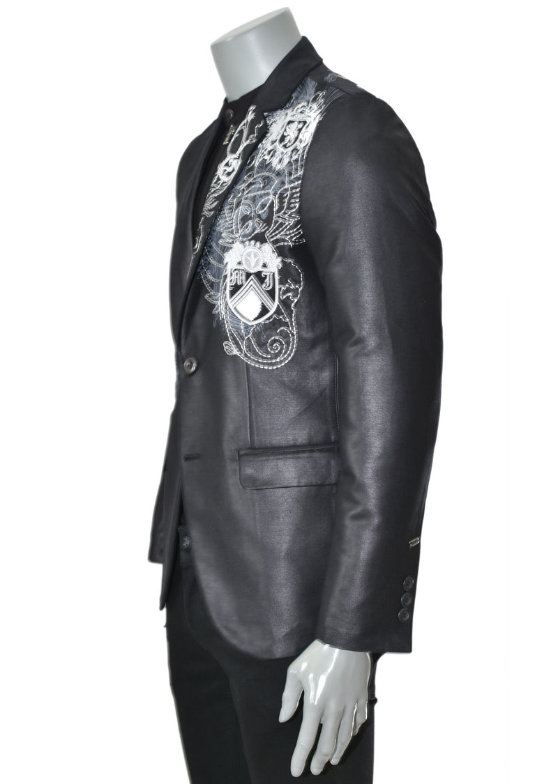 Black Crest Waxed Embroidery Blazer