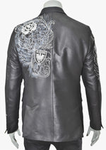 "Black Crest Waxed ""Limited Edition"" Embroidery Blazer"