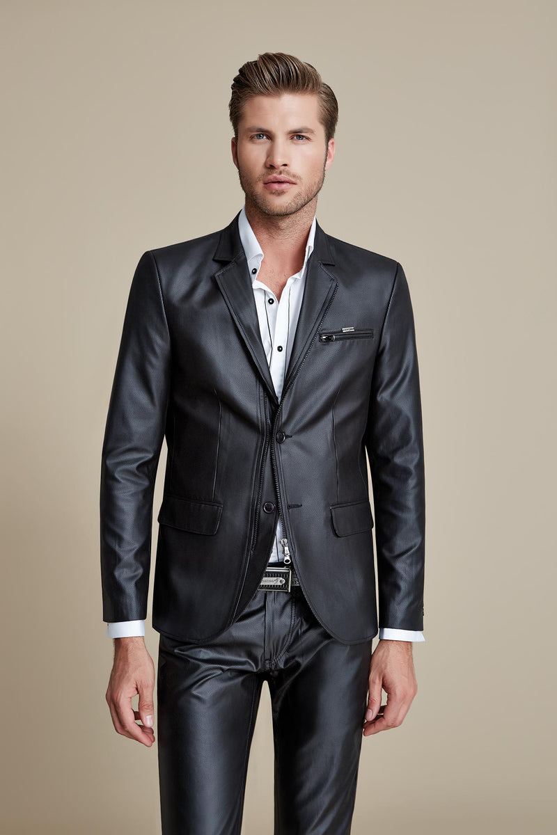 Black Double Closure Pu Leather Blazer