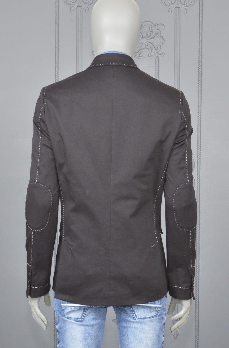 Black Lapel Stitches Casual Blazer