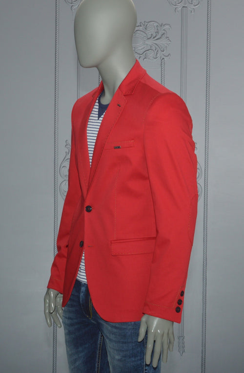 Red Lapel Stitches Casual Blazer
