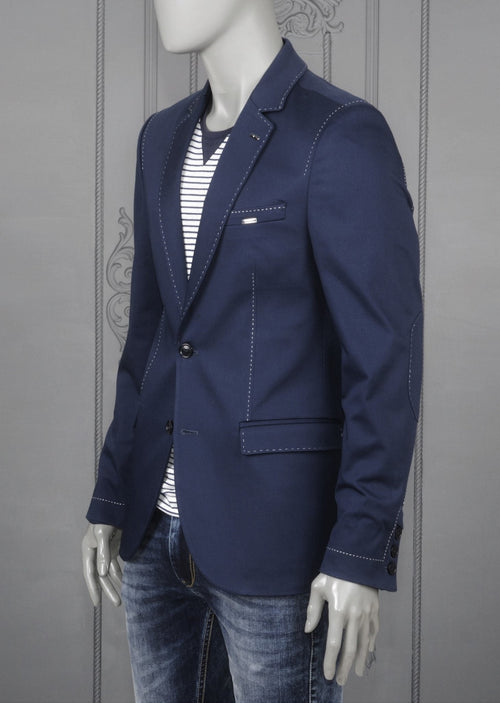 Navy Lapel Stitches Casual Blazer