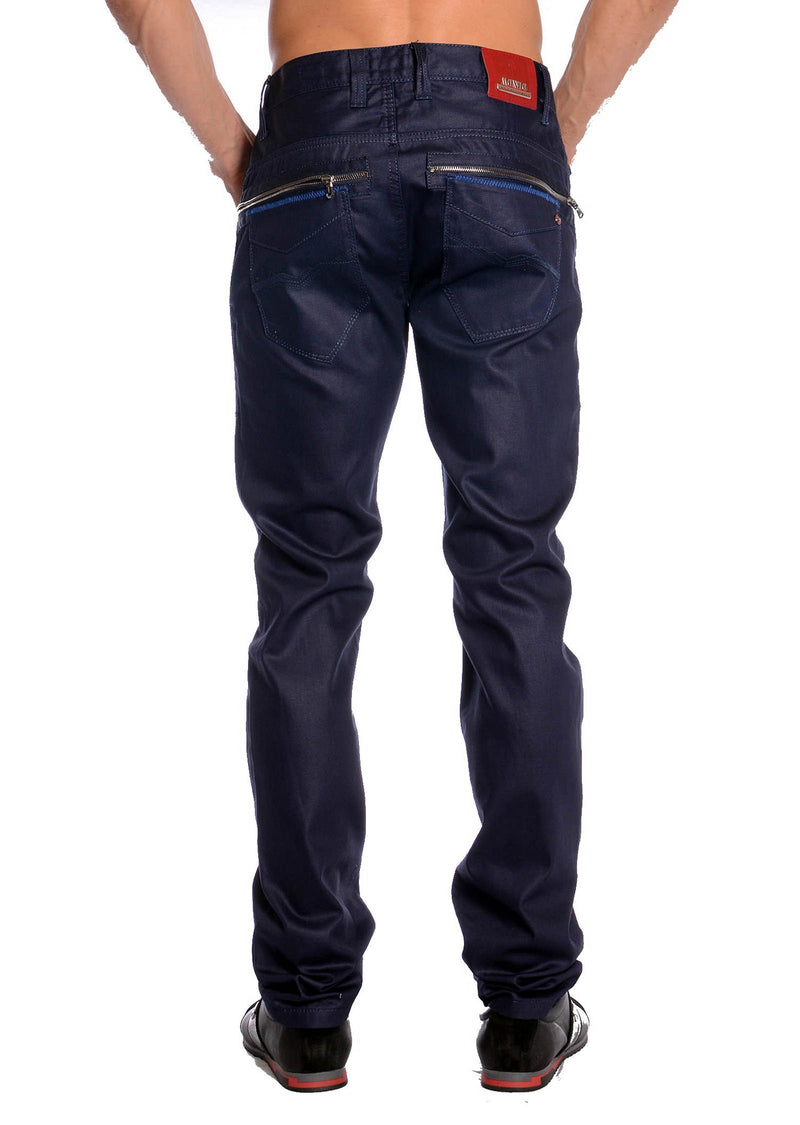 Blue Waxed Zipper Denim
