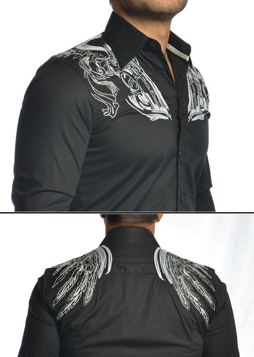 "Black ""Flying Wings"" Embroidery Shirt"