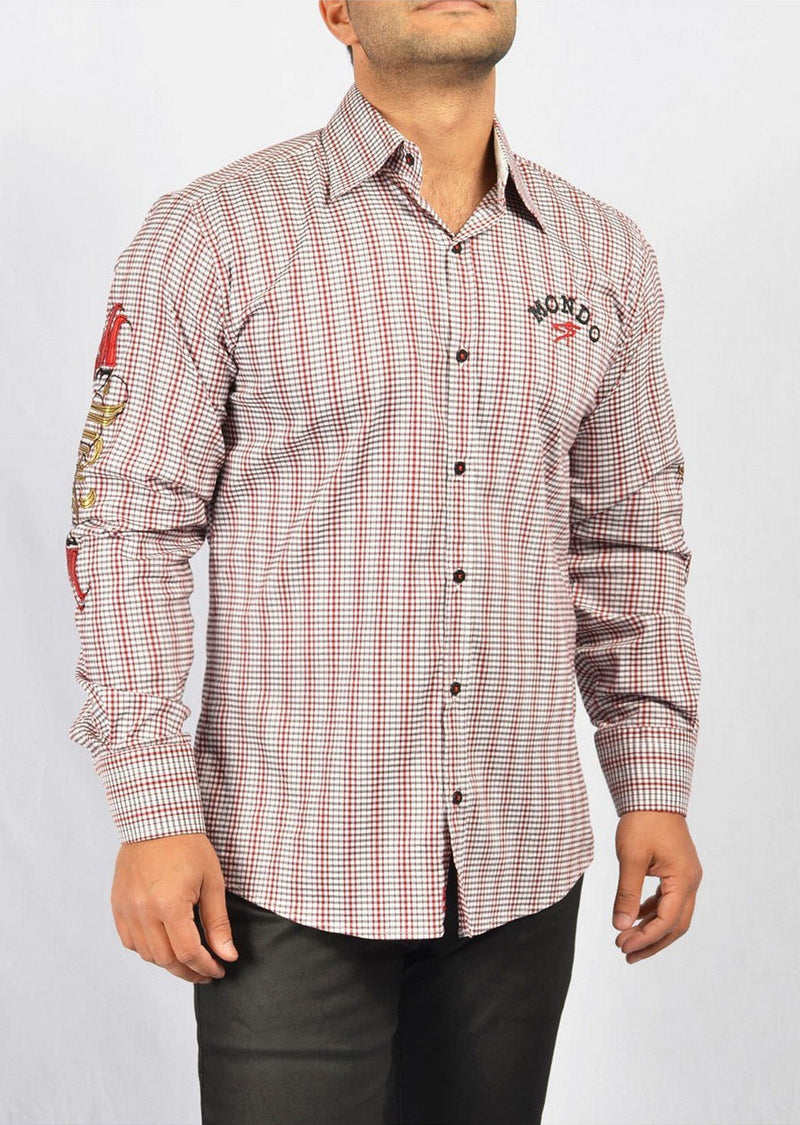 Red Black Checker Long Sleeve Shirt